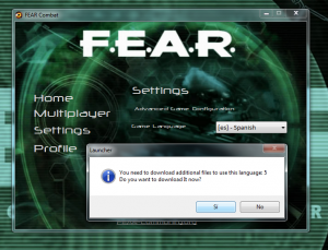 FEAR Launcher Settings: Change language