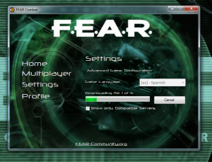 FEAR Launcher Settings: Downloading Language Pack