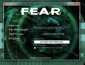 FEAR Launcher, CDKey Check, with an old FEAR CDKey